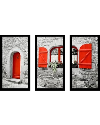 "PicturePerfectInternational ""The Red Door"" 3 Piece Framed Photographic Print Set 704-2191-1224 / 704-2191-1632 Size: 25.5"" H x 40.5"" W x 1"" D"