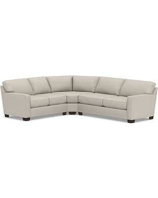 Buchanan Square Arm Upholstered Right Arm 3-Piece L-Shaped Wedge Sleeper Sectional, Polyester Wrapped Cushions, Performance Heathered Tweed Pebble