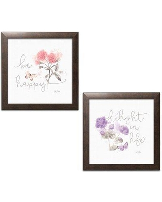 """Winston Porter 'Shabby Elegance Sunny Day VI Purple and Sunny Day VIII Pink' 2 Piece Textual Art Set WNST6369 Format: Brown Framed Paper Size: 12"""" H x 12"""" W x 0.75"""" D"""