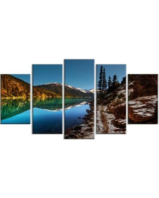 """Design Art ' Clear Lake w/ Mountains' 5 Piece Photographic Print on Wrapped Canvas Set, Canvas & Fabric in Blue, Size Medium 25""""-32"""" Large 33""""-40"""""""