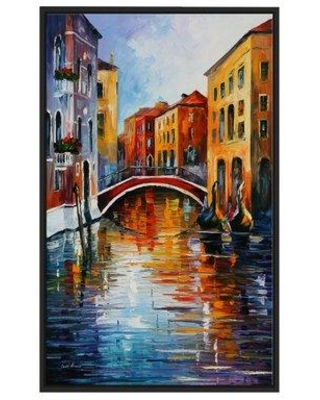 """Winston Porter 'Canal in Venice' Framed Oil Painting Print on Wrapped Canvas BF022996 Size: 51.5"""" H x 31.5"""" W x 2"""" D"""