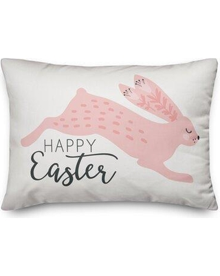 The Holiday Aisle Santoyo Leaping Rabbit Throw Pillow W001254191 Fill Material: Polyester/Polyfill Color: Blush