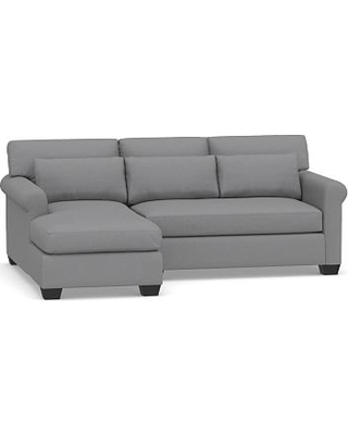 York Roll Arm Upholstered Deep Seat Right Arm Sofa with Chaise Sectional, Bench Cushion, Down Blend Wrapped Cushions, Textured Twill Light Gray