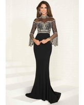 Tiffany Designs - 16285 Sequined High Neck Jersey Trumpet Dress