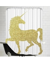 East Urban Home Unicorn Shower Curtain EABP1009 Color: Gold Glitter
