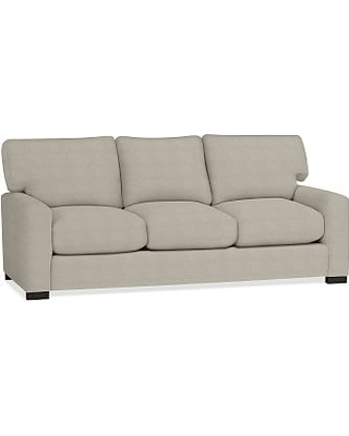 """Turner Square Arm Upholstered Sleeper Sofa 3-Seater 84"""" with Memory Foam Mattress without Nailheads, Polyester Wrapped Cushions, Performance Heathered Tweed Pebble"""