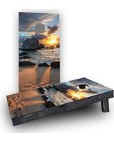 Custom Cornhole Boards Sunset on the Beach Cornhole Boards CCB297-C Bag Fill: Light Weight Boards with All Weather Bags