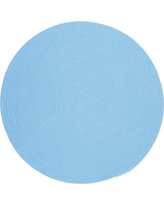 Joy Braids Solid Aqua Blue 8 ft. x 8 ft. Round Indoor/Outdoor Braided Area Rug