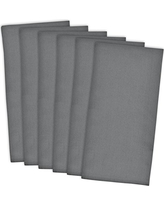 "DII Cotton Solid Flat Weave Dish Towels, 18 x 28"" Set of 6, Absorbent Monogrammable Kitchen Towels for Cooking and Baking-Gray"