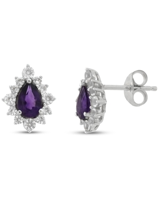 Amethyst & White Lab-Created Sapphire Earrings Sterling Silver