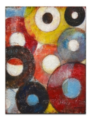 """Ready2HangArt, 'Color Wheels I' Colorful Abstract Canvas Wall Art, 30x20"""""""