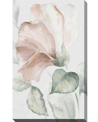 """Bay Isle Home 'Neutral Hibiscus I' Watercolor Painting Print BI163728 Size: 48"""" H x 28"""" W x 1.5"""" D Format: Wrapped Canvas"""