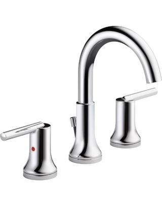Delta Trinsic Widespread Bathroom Faucet with Drain Assembly and DIAMOND Seal Technology Finish: Chrome