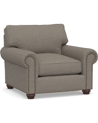 Webster Roll Arm Upholstered Armchair Bronze NH, Down Blend Wrapped Cushions, Performance Chateau Basketweave Light Gray