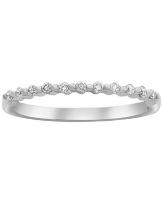 14k Gold 1/6ct TDW Diamond Shared Prong Semi Eternity Band Ring (6 - White)