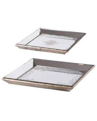 Amazing Deal On Ophelia Co Warrick Mirrored Square 2 Piece Vanity Tray Set Glass In Beige Size Extra Large Over 17 W Wayfair