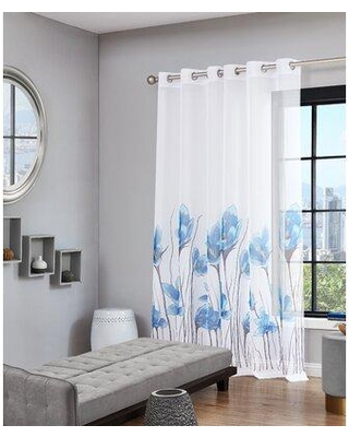 Amazing Savings On Dainty Home Magnolia Floral Semi Sheer Grommet Single Curtain Panel Curtain Polyester In Teal Wayfair Magn7684te