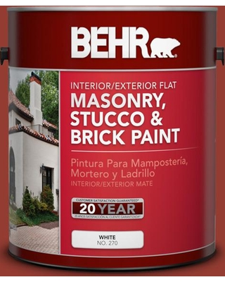 BEHR 1 gal. #PPU2-17 Morocco Red Flat Interior/Exterior Masonry, Stucco and Brick Paint