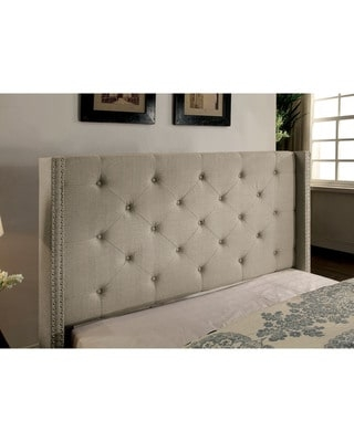 Furniture of America Ralen Contemporary Tufted Linen-like Wingback Platform Bed (Grey - California King)