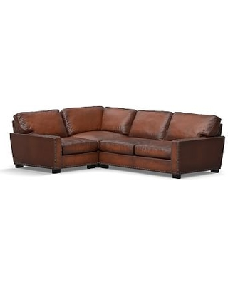 Turner Square Arm Leather Right Arm 3-Piece Corner Sectional with Bronze Nailheads, Down Blend Wrapped Cushions, Burnished Saddle