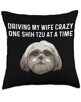 Best Pup Breed & Little Lion Fur Floppy Presents Funny Shih Tzu Gift For Men Papa Pet Dog Puppy Owner Animal Throw Pillow, 18x18, Multicolor