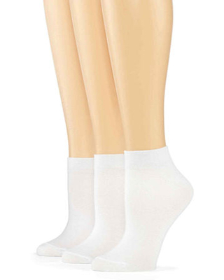 Mixit 3 Pack Low-Cut Socks- Womens, 4-10 , White