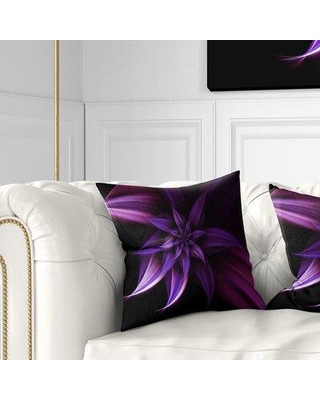 """East Urban Home Floral Fractal Flower Pillow FTIF9479 Size: 18"""" x 18"""" Product Type: Throw Pillow"""
