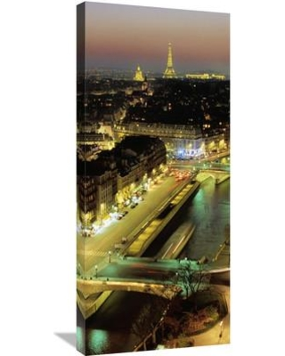 """Global Gallery 'Overlooking Paris at Night (Center)' by Michel Setboun Photographic Print on Wrapped Canvas GCS-394275 Size: 36"""" H x 15.84"""" W x 1.5"""" D"""