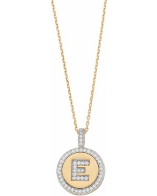 """14k Gold Over Silver Cubic Zirconia Initial Pendant Necklace, Women's, Size: 18"""", Yellow"""