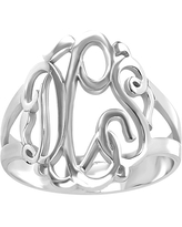 Personalized Sterling Silver Monogram Ring, 9 , No Color Family