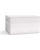 Pearce Slipcovered Ottoman, Polyester Wrapped Cushions, Twill White