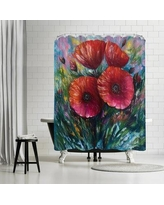 East Urban Home OLena Art Red Poppies Shower Curtain ETHH4175