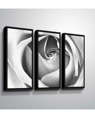 """House of Hampton 'Black & White Rose' Photographic Print Multi-Piece Image on Canvas BF207912 Size: 36"""" H x 54"""" W x 2"""" D Format: Floater Framed"""