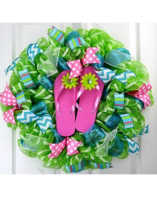 8871100c658238 Check out some Sweet Savings on Flip Flop Summer Wreath
