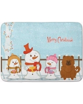 The Holiday Aisle Merry Christmas Carolers Chow Chow Memory Foam Bath Rug THLA5158 Color: Red