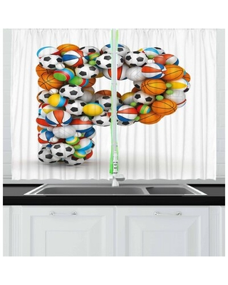 2 Piece Letter P Kitchen Curtain East Urban Home