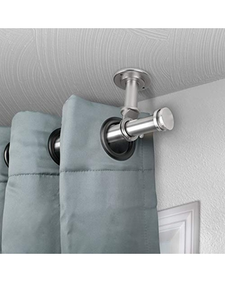 """Rod Desyne Rodeo 1"""" Ceiling Curtain Rod/Room Divider, 120-170 inch, Satin Nickel"""