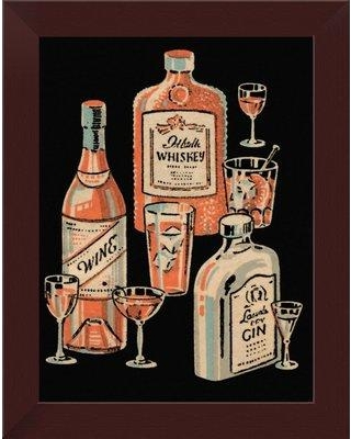 "East Urban Home 'Whiskey Wine and Gin' Framed Graphic Art Print EASN8173 Size: 14"" H x 11"" W Format: Espresso Framed"