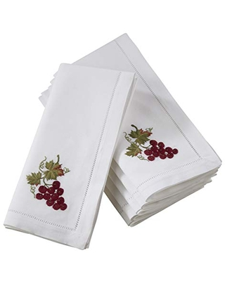 """SARO LIFESTYLE The Broderie Collection Hemstitch Table Napkins With Embroidered Grape Design (Set of 6), 20"""""""