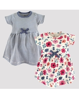 Touched by Nature Baby Girls' 2pk Striped & Floral Organic Cotton Dress - Blue/Pink 6-9M