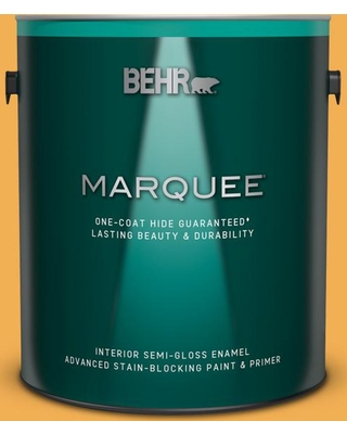 BEHR MARQUEE 1 gal. #PMD-20 Goldenrod Field Semi-Gloss Enamel Interior Paint and Primer in One