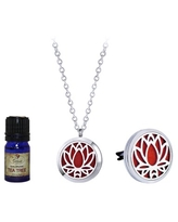 Lotus Essential Oil Mother's Day Gift for Her Girlfriend Wife Girlfriend Diffuser Necklace & Car Clip Aromatherapy Jewelry Organic Essential Oil Jewelry Gift Set -Tea Tree Oil