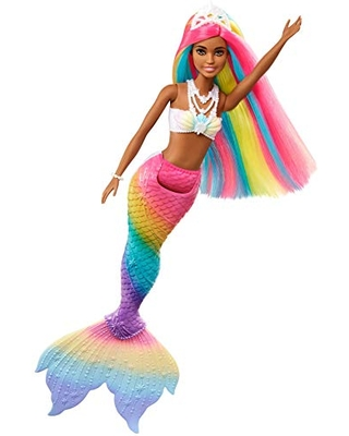 Barbie Dreamtopia Rainbow Magic Mermaid Doll with Rainbow Hair and Water-Activated Color Change Feature, Gift for 3 to 7 Year Olds
