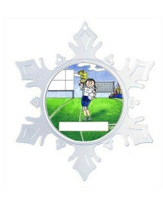 The Holiday Aisle Personalized Friendly Folks Cartoon Snowflake Volleyball Player Christmas Holiday Shaped Ornament X112692278