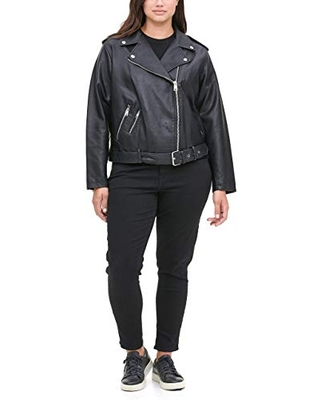 Levi's Women's Faux Leather Belted Motorcycle Jacket (Standard and Plus Sizes), black, 2X