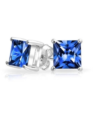 2CT Square Cubic Zirconia Brilliant Princess Cut AAA CZ Stud Earrings For Women 925 Sterling Silver More Colors (Blue)