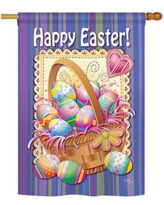 """Breeze Decor Easter Basket 2-Sided Vertical Flag 53040 Size: 40"""" H x 28"""" W"""