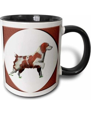 East Urban Home Digital Oil Painting of a Springer Spaniel on a Background in a Matching Round Frame Coffee Mug W000807822