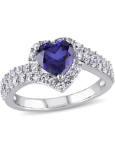 2-3/4 Carat T.G.W. Created Blue and White Sapphire Sterling Silver Heart Bypass Engagement Ring