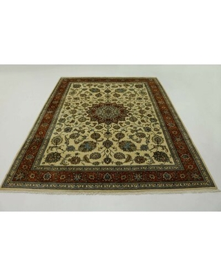 """One-of-a-Kind Hand-Knotted 1980s Kashmar Beige 9'11"""" x 13'1"""" Wool Area Rug"""